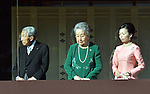 January 2, 2014, Tokyo, Japan -  Japan's Prince Mikasa, his wife Princess Yuriko and Princess Akiko wave to well-wishers with Emperor Akihito and other members of the royal family from the balcony of the Imperial Palace during a New Year's public appearance in Tokyo on Wednesday, January 2, 2014.  (Photo by Natsuki Sakai/AFLO) AYF -ks-