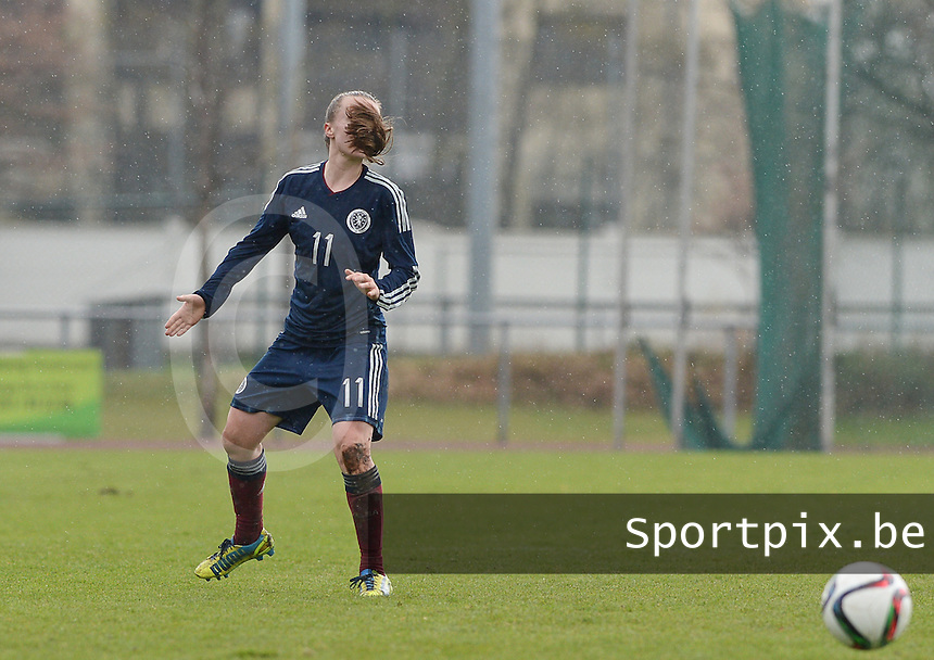 20150404 - FORST , GERMANY  : Scottish Kirsty Howat pictured during the soccer match between Women Under 19 teams of Germany and Scotland , on the first matchday in group 5 of the UEFA Elite Round Women Under 19 at WaldseeStadion , Forst , Germany . Saturday 4th April 2015 . PHOTO DAVID CATRY