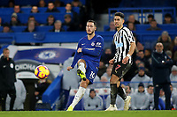 Eden Hazard of Chelsea passes the ball across the pitch during Chelsea vs Newcastle United, Premier League Football at Stamford Bridge on 12th January 2019