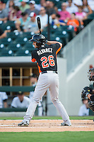 Dariel Alvarez (26) of the Norfolk Tides at bat against the Charlotte Knights at BB&T BallPark on July 17, 2015 in Charlotte, North Carolina.  The Knights defeated the Tides 5-4.  (Brian Westerholt/Four Seam Images)