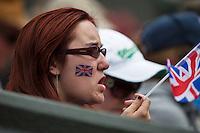 01-07-13, England, London,  AELTC, Wimbledon, Tennis, Wimbledon 2013, Day seven, English fan<br /> <br /> <br /> <br /> Photo: Henk Koster