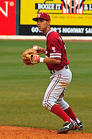 NASHVILLE, TENNESSEE-Feb. 27, 2011:  Lonnie Kauppilla of Stanford eyes a pop-up at second base during the game at Vanderbilt.  Stanford defeated Vanderbilt 5-2.