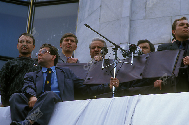 Boris Yeltsin, President of the Russian Federation, addresses a crowd in the aftermath of a coup attempt against his government. Moscow, Russia, August 1991