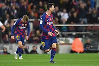 Lionel Messi celebrates after scoring a goal <br /> 07/12/2019 <br /> Barcelona - Maiorca<br /> Calcio La Liga 2019/2020 <br /> Photo Paco Largo Panoramic/insidefoto <br /> ITALY ONLY