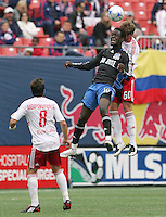 San Jose Earthquakes' Kei Kamara (16) gets in front of New York Red Bulls' Jeff Parke (60) for a header as the Red Bulls' Sinisa Ubiparipovic (8) looks on in the second half of an MLS soccer match at Giants Stadium in East Rutherford, N.J. on Sunday, April 27, 2008. The Red Bulls defeated the Earthquakes 2-0.