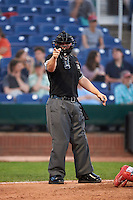 Umpire Ryan Benson during a game between the Reading Fightin Phils and Portland Sea Dogs on May 31, 2016 at Hadlock Field in Portland, Maine.  Reading defeated Portland 6-4.  (Mike Janes/Four Seam Images)