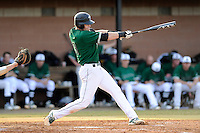 Catcher Luke Weber (9) of the University of South Carolina Upstate Spartans bats in a game against the Citadel Bulldogs on Tuesday, February, 18, 2014, at Cleveland S. Harley Park in Spartanburg, South Carolina. Upstate won, 6-2. (Tom Priddy/Four Seam Images)