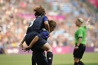 25.07.2012 Coventry, England. Nahomi KAWASUMI (Japan) celebratevs as she scores the first goal during the Olympic Football Women's Preliminary game between Japan and Canada from the City of Coventry Stadium