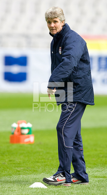 USA head coach Pia Sundhage. The U.S. defeated Canada, 4-0, during the Four Nations Tournament in Guangzhou, China on January 16, 2008.