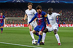 UEFA Champions League 2017/2018.<br /> Round of 16 2nd leg.<br /> FC Barcelona vs Chelsea FC: 3-0.<br /> Marcos Alonso, Lionel Messi &amp; N'Golo Kante.