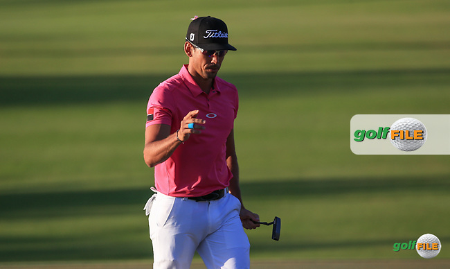 2012 Champion Rafa Cabrera-Bello (ESP) completes back to back rounds of 67 to lead the field during Round Two (Pink Friday) of the 2016 Omega Dubai Desert Classic, played on the Emirates Golf Club, Dubai, United Arab Emirates.  05/02/2016. Picture: Golffile   David Lloyd<br /> <br /> All photos usage must carry mandatory copyright credit (&copy; Golffile   David Lloyd)