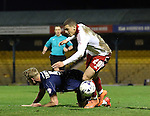Southend's Adam Thompson brings down Sheffield United's Che Adams but referee Stuart Attwell gives a freekick instead of a penalty during the League One match at Roots Hall Stadium.  Photo credit should read: David Klein/Sportimage