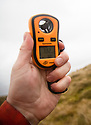 15/02/120<br /> <br /> A wind speed of 73.2 mph is measured on a hand-held anemometer at 14:53 today at the summit of Mam Tor near Castleton in the Derbyshire as Storm Dennis smashes into the Peak District<br /> <br /> All Rights Reserved: F Stop Press Ltd.  <br /> +44 (0)7765 242650 www.fstoppress.com