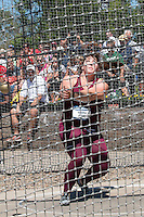 Southern Illinois redshirt-junior and Troy High School graduate DeAnna Price spins in the ring on her way to victory and an NCAA Championship meet record of 234-6 in the hammer throw at the NCAA Division I Outdoor Track and Field Championships, Thursday, June 11, in Eugene, Or.