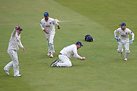 Simon Harmer of Essex holds on to a catch to dismiss Michael Burgess from the bowling of Jamie Porter during Warwickshire CCC vs Essex CCC, Specsavers County Championship Division 1 Cricket at Edgbaston Stadium on 11th September 2019