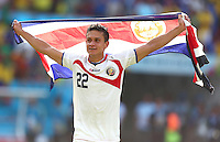 Jose Cubero of Costa Rica celebrates victory over Italy