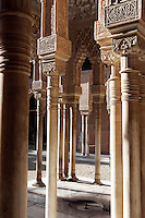 Detail of pillars; Courtyard of the Lions; 1362; Second reign of Muhammad V; Nasrid Palace; The Alhambra, Granada, Andalusia, Spain Picture by Manuel Cohen