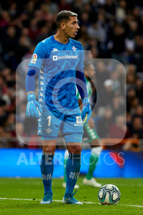 Joel Robles of Real Betis Balompie during La Liga match between Real Madrid and Real Betis Balompie at Santiago Bernabeu Stadium in Madrid, Spain. November 02, 2019. (ALTERPHOTOS/A. Perez Meca)
