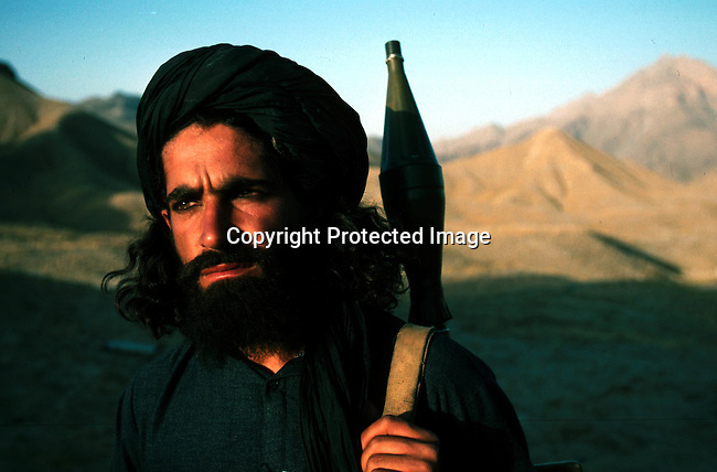 A Taliban soldier outside Kabul, Afghanistan. They took over most of the country in 1996, and have enforced strict muslim law. Women are not allowed to work or go to school..©Per-Anders Pettersson/iAfrika Photos