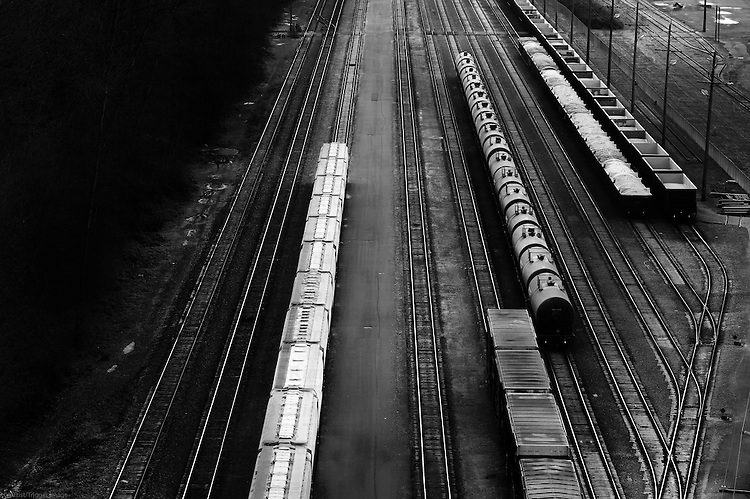 High view of train carriages on a railway