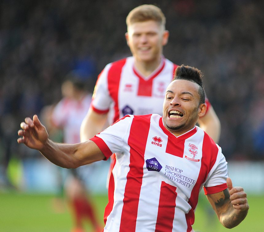 Lincoln City's Nathan Arnold celebrates scoring the opening goal <br /> <br /> Photographer Andrew Vaughan/CameraSport<br /> <br /> Vanarama National League - Lincoln City v Tranmere Rovers - Saturday 17th December 2016 - Sincil Bank - Lincoln<br /> <br /> World Copyright &copy; 2016 CameraSport. All rights reserved. 43 Linden Ave. Countesthorpe. Leicester. England. LE8 5PG - Tel: +44 (0) 116 277 4147 - admin@camerasport.com - www.camerasport.com