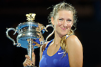 MELBOURNE, 28 JANUARY - Victoria Azarenka (BLR) receives the winner's trophy at the 2012 Australian Open at Melbourne Park, Australia. (Photo Sydney Low / syd-low.com)