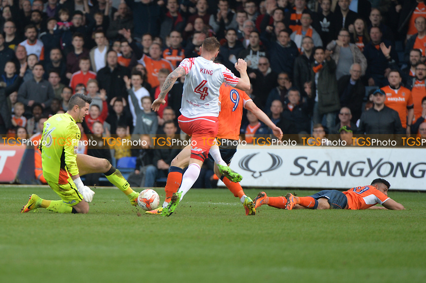 chris day challenges out side his area during Luton Town vs Stevenage, Sky Bet EFL League 2 Football at Kenilworth Road on 11th March 2017