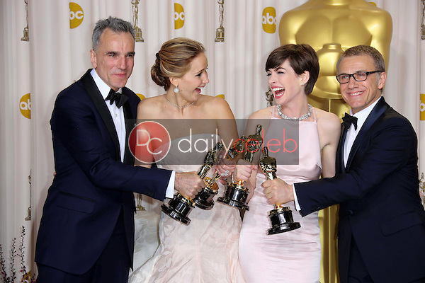 Daniel Day-Lewis, Jennifer Lawrence, Anne Hathaway and Christoph Waltz<br /> at the 85th Annual Academy Awards Press Room, Dolby Theater, Hollywood, CA 02-24-13<br /> David Edwards/DailyCeleb.com 818-249-4998