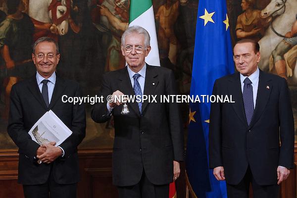 "MARIO MONTI, SILVIO BERLUSCONI AND ANTONIO CATRICALA.Monti took over as the new Italian  Prime Minister, following the resignation of Silvio Berlusconi due to the financial crisis in the Italian economy, Rome_17/11/2011.Mandatory Credit Photo: ©Matteo Ciambelli/NEWSPIX INTERNATIONAL..**ALL FEES PAYABLE TO: ""NEWSPIX INTERNATIONAL""**..IMMEDIATE CONFIRMATION OF USAGE REQUIRED:.Newspix International, 31 Chinnery Hill, Bishop's Stortford, ENGLAND CM23 3PS.Tel:+441279 324672  ; Fax: +441279656877.Mobile:  07775681153.e-mail: info@newspixinternational.co.uk"