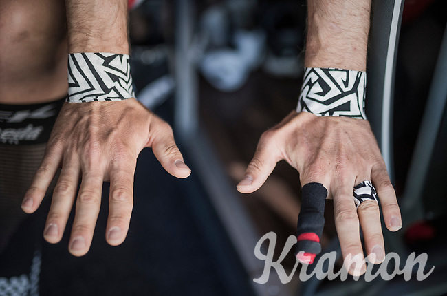 John Degenkolb's (DEU/Trek-Segafredo) taped hands ready for the cobbles<br /> <br /> 115th Paris-Roubaix 2017 (1.UWT)<br /> One Day Race: Compi&egrave;gne &rsaquo; Roubaix (257km)