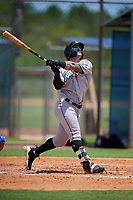 GCL Marlins first baseman John Silviano (43) follows through on a swing during a game against the GCL Mets on August 3, 2018 at St. Lucie Sports Complex in Port St. Lucie, Florida.  GCL Mets defeated GCL Marlins 3-2.  (Mike Janes/Four Seam Images)
