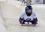 8 January 2016: Kendall Wesenberg, competing for the United States of America, crosses the finish line on her first run of the BMW IBSF World Cup Skeleton race at the Olympic Sports Track in Lake Placid, New York, USA. Mandatory Credit: Ed Wolfstein Photo *** RAW (NEF) Image File Available ***