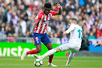 Real Madrid's Lucas Vazquez (r) and Atletico de Madrid's Thomas Partey during La Liga match. April 8,2018. (ALTERPHOTOS/Acero) /NortePhoto NORTEPHOTOMEXICO