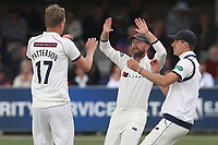 Steven Patterson of Yorkshire celebrates with his team mates after taking the wicket of Alastair Cook during Essex CCC vs Yorkshire CCC, Specsavers County Championship Division 1 Cricket at The Cloudfm County Ground on 7th July 2019