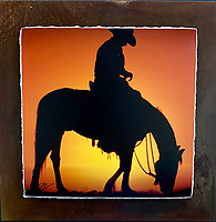 """Cowboy Sunset - Mixed Media - Arizona<br /> <br /> Each unique piece is made to order. If I have the piece in stock I can ship it in 2-3 days. If I don't have it in stock and it has to be made, it will ship in 1-2 weeks. Feel free to contact me at chey.rouse@gmail.com before you order if you need the piece ASAP. <br /> <br /> The photograph is printed on a Silk photo paper, the edges of the photo are torn, photo is mounted to foam board, then I mount it to an 8""""x8"""" piece of rusted metal. The rust is unique on each piece...no two pieces are alike. PLEASE keep in mind that the rust on the piece(s) you receive may be slightly different than the photo. Each piece of metal is sealed after it is done """"rusting"""" and is titled, hand signed and, ready to hang. To see the detail for theses Mixed Media pieces please click on the 1st photo in this gallery. You will be able to see the detail of the torn paper edge as well as the back of the piece."""