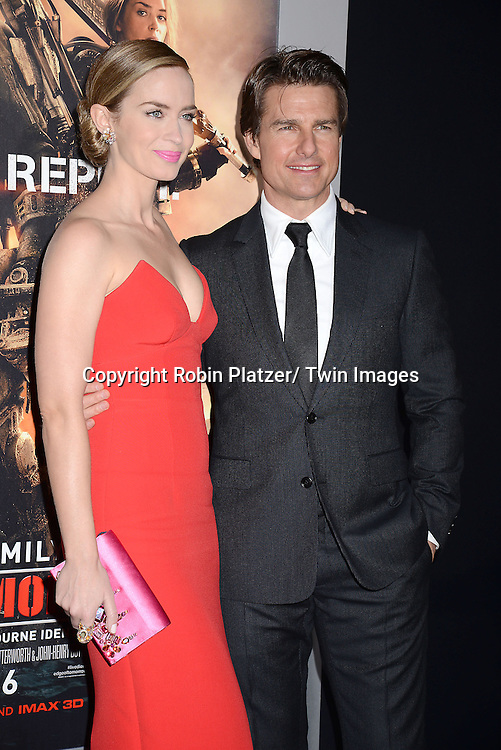 "Emily Blunt and Tom Cruise  attends the ""Edge of Tomorrow"" New York Fan Premiere on May 28, 2014 at the AMC Lincoln Square Theatre in New York City."