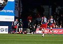 Chris Carruthers of York City (on ground) celebrates York's goal during the Blue Square Premier play-off semi-final 2nd leg  match between Luton Town and York City at Kenilworth Road, Luton on Monday 3rd May, 2010..© Kevin Coleman 2010 ..