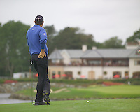 Smurfit Kappa European Open, K Club Straffin, Co Kildare..Padraig Harrington about to playing his second shot onto the green on the 18th hole during the 3rd round..Photo: Eoin Clarke/ Newsfile.