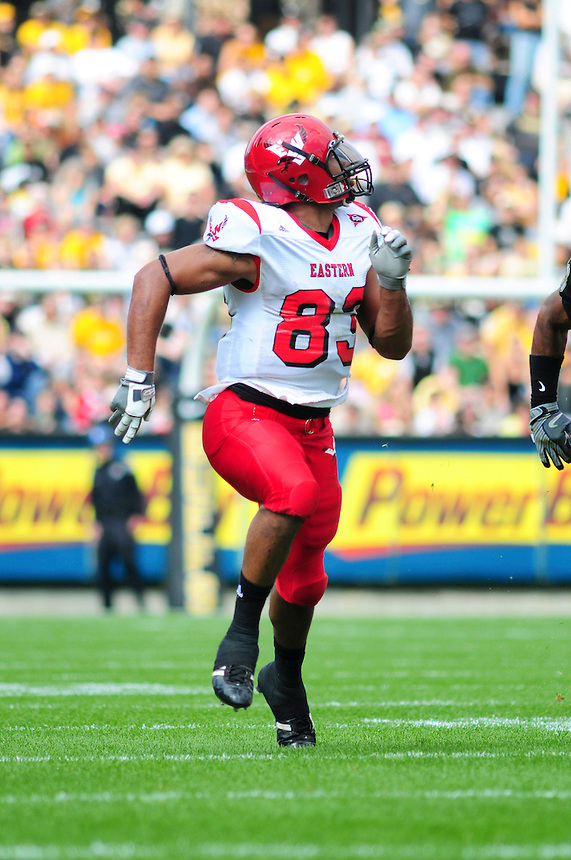 06 September 08: Eastern Washington wider receiver Brynsen Brown runs a pattern against Colorado. The Colorado Buffaloes defeated the Eastern Washington Eagles 31-24 at Folsom Field in Boulder, Colorado. FOR EDITORIAL USE ONLY