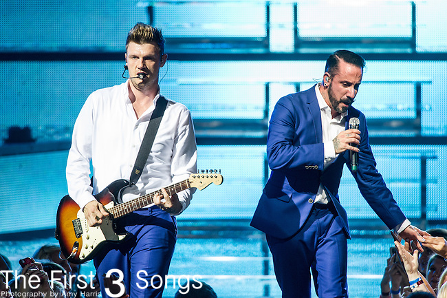 Nick Carter and AJ McLean of the Backstreet Boys perform at Riverbend Music Center in Cincinnati, Ohio.