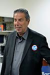 Garden City, New York, USA. 17th April 2016. JON BAUMAN, 'BOWZER', 69, singer in the band and TV show Sha Na Na, drops by Canvass Kickoff for Democratic presidential primary candidate Hillary Clinton at the Nassau County Democratic Office. He autographed photos of himself as Bowzer for the volunteers and spoke about why it's important to GOTV, Get Out The Vote for Hillary Clinton. Bauman is an activist in electoral politics and public policy activist and co-founded Senior Votes Count, which focuses on senior issues.