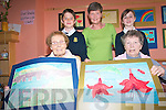 Staff, residents and local school children at Cuil Didin Nursing home in Tralee have been working together to host a number of events at the care facility to mark the Bealtaine festival including an art project by pupils from Caherleaheen who work with residents to create an image of what being old means to them. .Back L-R Niall Fitzgerald and Jackson the resident dog, Joan Griffin, .Front L-R Catherine Canty and Eileen Delane