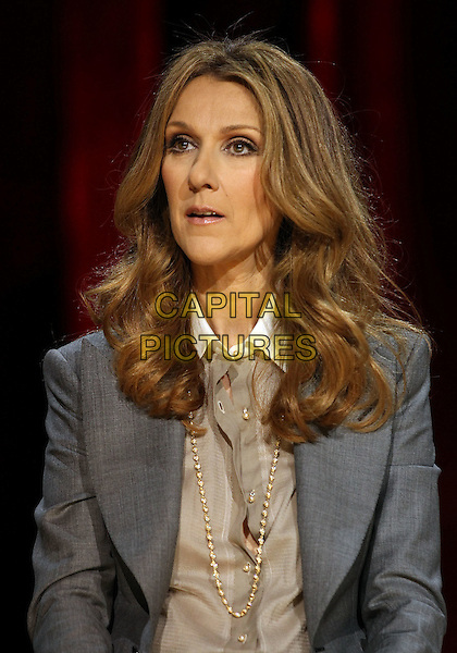 CELINE DION.Celine Dion's Momentous Return To The Colosseum Press Conference At Caesars Palace Resort Casino, Las Vegas, Nevada, USA..March 15th, 2011.half length grey gray jacket gold  necklace beige shirt blouse .CAP/ADM/MJT.© MJT/AdMedia/Capital Pictures.