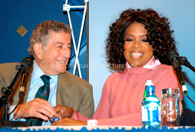 WWW.ACEPIXS.COM . . . . .  ... . . . . US SALES ONLY . . . . ...Oslo, Norway, December 11, 2004: Tony Bennett and Oprah Winfrey at a Nobel Peace Prize Concert press conference. Please byline: M. Delucci - FAMOUS - ACE PICTURES.... . . . .  ....Ace Pictures, Inc:  ..Alecsey Boldeskul (646) 267-6913 ..Philip Vaughan (646) 769-0430..e-mail: info@acepixs.com..web: http://www.acepixs.com