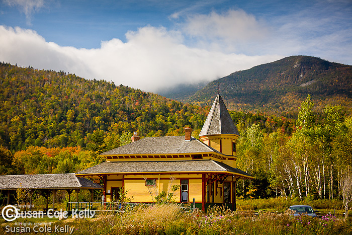 Fall colors the Crawford Depot of the Conway Scenic Railroad at Crawford Notch, White Mountain National Forest, NH, USA