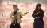 NWA Democrat-Gazette/ANDY SHUPE<br /> Mindy Besaw (left), Crystal Bridges Curator of American Art, speaks Thursday, Oct. 4, 2018, alongside independent curator Candice Hopkins in front of a piece titled, &quot;Companion Species (Calling All My Relations)&quot; by artist Marie Watt during a tour of a new exhibition of artwork by Native American artists at Crystal Bridges Museum of American Art in Bentonville. The exhibition, titled &quot;Art for a New Understanding: Native Voices, 1950s to Now,&quot; opens today and runs through Jan. 7, 2019.