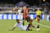 San Jose, CA - Wednesday September 19, 2018: Anibal Godoy, Michael Parkhurst during a Major League Soccer (MLS) match between the San Jose Earthquakes and Atlanta United FC at Avaya Stadium.