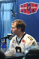 Drew Brees (Saints)<br /> Super Bowl XLIV Media Day, Sun Life Stadium *** Local Caption *** Foto ist honorarpflichtig! zzgl. gesetzl. MwSt. Auf Anfrage in hoeherer Qualitaet/Aufloesung. Belegexemplar an: Marc Schueler, Alte Weinstrasse 1, 61352 Bad Homburg, Tel. +49 (0) 151 11 65 49 88, www.gameday-mediaservices.de. Email: marc.schueler@gameday-mediaservices.de, Bankverbindung: Volksbank Bergstrasse, Kto.: 52137306, BLZ: 50890000