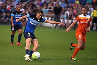 Kansas City, MO - Saturday May 07, 2016: FC Kansas City midfielder Mandy Laddish (7) shoots against Houston Dash midfielder Morgan Brian (6) during a regular season National Women's Soccer League (NWSL) match at Swope Soccer Village.