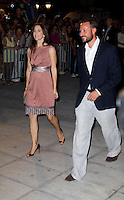 Crown Princess Mary of Denmark, and Crown Prince Haakon of Norway  attend a Cocktail Party at The Poseidonion Hotel, in Spetses, Greece, on the eve of the Wedding of Prince Nikolaos of Greece to Tatiana Blatnik.